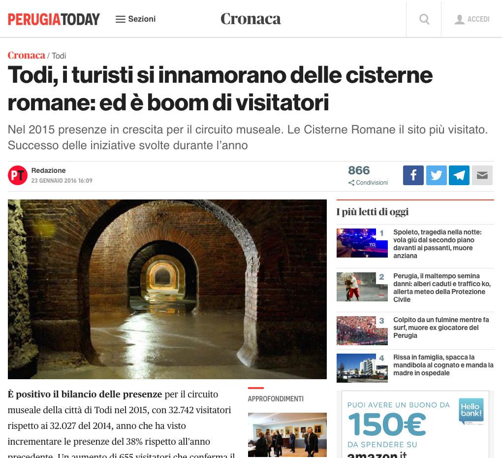 Uno degli articoli in cui le cisterne di Fermo (MC) sono confuse con quelle di Todi